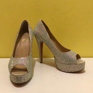 Christian Louboutin Peep Toe Glitter Heels Size 7